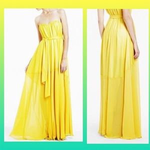 BCBG Maras Strapless yellow chiffon Evening Gown